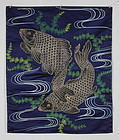 Edo Silk Embroidery Indigo Fukusa Big Carp