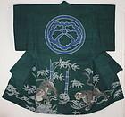 Edo Tsumugi-Silk Indigo Tsutsugaki Yogi Hand-spun Tiger