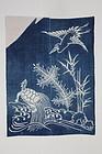 Edo Indigo Tsutsugaki Cotton Izumo-Yuage Thick Hand-spun Folky