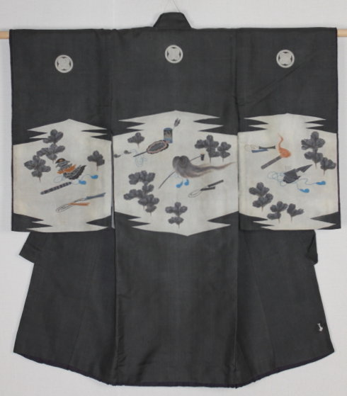 Edo Yuzen Silk Child Kimono Noh Kyogen design