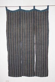 Edo Indigo Hemp Cotton Shonai Noren Hand-spun Thick Old fabric.
