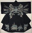 Edo Indigo Cotton Silk Tsutsugaki Yogi Hand-spun Thick.