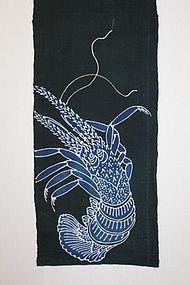 Edo Indigo Tsutsugaki Prawn Cotton cloth Hand-spun.