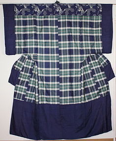 Edo Indigo Kaiki- silk Yogi Lattice Thin hight-quality silk. Rare.