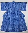Meiji Indigo Asamai-Shibori Menchijimi-Cotton Impressive blue Kimono.