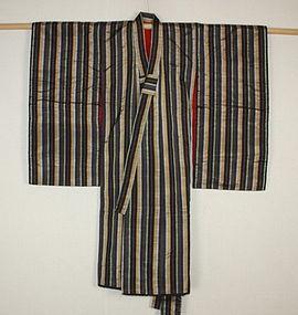 Japanese antique Beautiful lustrous stripe silk child kimono Meiji era