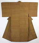 Meiji Golden brown Tsumugi- silk Lattice �Shima Hand-spun Kimono.