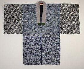 Japanese antique Edo-meiji indigo dye katazome cotton hanjyuban