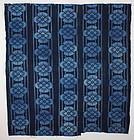 Meiji Indigo Cotton Katazome family crest stripe Thick Hand-spun.