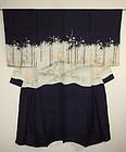 Japanese antique silk Elegant formal katsugi-kimono Meiji