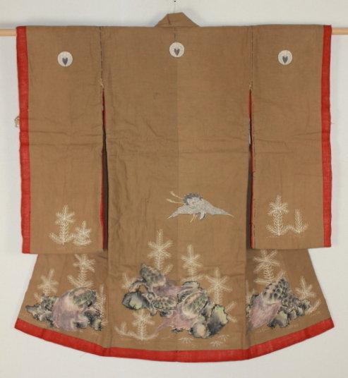 Edo Madder-dye Hand-spun Cotton Tsutsugaki Child kimono Very rare.