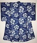Japanese antique Indigo dye shibori cotton kimono taisyo era