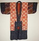 Edo yosegire Patchwork beni-itajime katazome silk kimono
