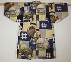 Japanese antique katazome Child cotton haori of the  design of the war