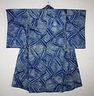 Japanese antique Indigo dye shibori Tie-dye cotton kimono Meiji