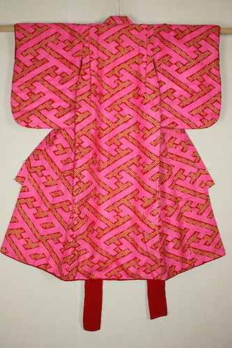 Japanese antique Beautiful katazome silk child kimono taisyo