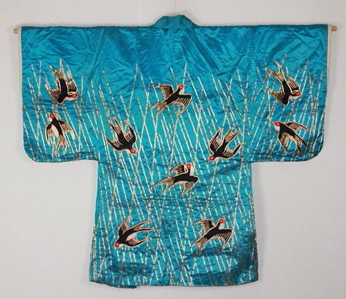 Edo. Silk. Kabuki- clothes. Hanten. Embroidery. Rain and Swallow.