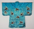 Edo. Silk. Kabuki- clothes. Hanten. Embroidery. Rain and Swallow.