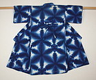 Japanese antique charming  old Tie-dye sekka-shibori cotton child kimo