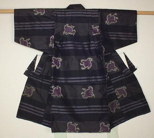 Japanese  antique meisen ikat silk child kimono Pattern of Plover