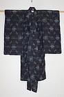 Edo Etigo-Jyofu hemp Child Indigo Kasuri Kimono Prawns Shell Matsuba.