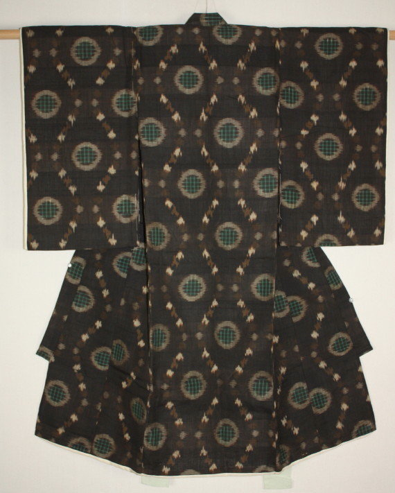 Japanese Antique old silk tsumugi ikat kasuri child kimono