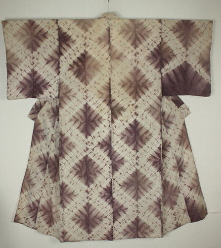 Japanese antique old Tie-dye shibori shikon dye cotton meiji 1868-1910