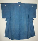Japanese antique indigo dye hemp Formal Kimono with three family coat