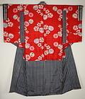Japanese antique old beniitajime katazome yuzen-dye silk kimono meiji