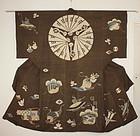 Edo Tsutsugaki Tsumugi-Silk Yuzen old treasure pattern Rare.