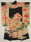 Meiji Rinpa- style. Silk. Free-hand painting. Kimono. Antique Furisod