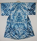 Taisho Indigo Silk. An irregular change. Beautiful Shibori.