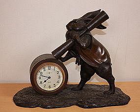 Japanese  Antique  Rabbit clock of bronze