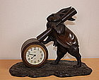 Japanese  Antique  Rabbit clock of bronze