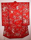 Japanese Edo Rinzu Embroidery yuzen furisode kimono