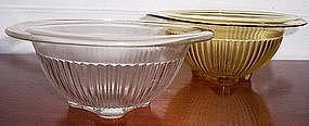 "Federal Glass Ribbed Mixing Bowls, 8"" Amber -  7"" Clear"