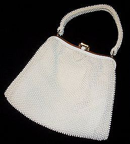 White Corde Bead Purse / Handbag