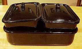 5 Piece Black Enamelware Rectangular Storage Set