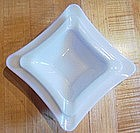 Square Stacking Milk Glass Ashtray Set of 2