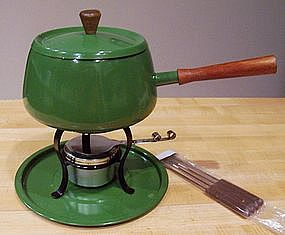 Green Fondue Pot Set with Fondue Forks