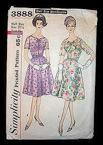 Simplicity Dress Pattern 20 1/2 Half Size Slenderette