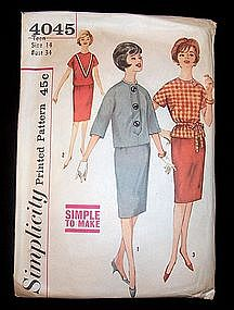 Simplicity Teens' One-Piece Dress & Jacket 1960's