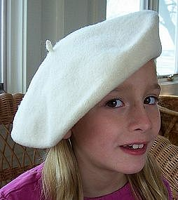 100% Wool Preston & York Beret, Cream