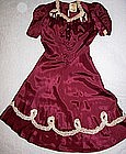 Red Juniors Dress with Circle Skirt and Lace