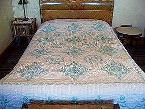 Hand-quilted, Embroidered Cross-Stitch Quilt