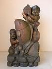 Japanese monumental painted Ebisu and Daikoko Sculpture