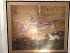 Japan byobu, two panel horses screen, 17th century