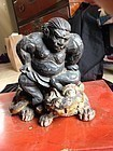 Japan fine old Sumo wrestler with cat sculpture , Edo