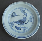 Ming Blue and White  Small Dish with Fish Motive