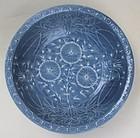 Blue Glaze Swatow Large Bowl With White Slip Motive